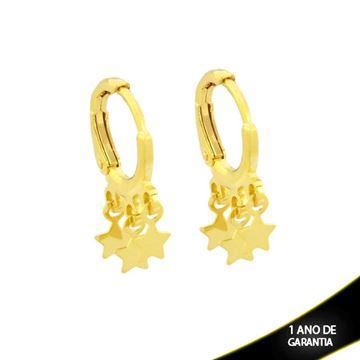 Imagem de Brinco Argola com Três Estrelas Lisas - 0212058