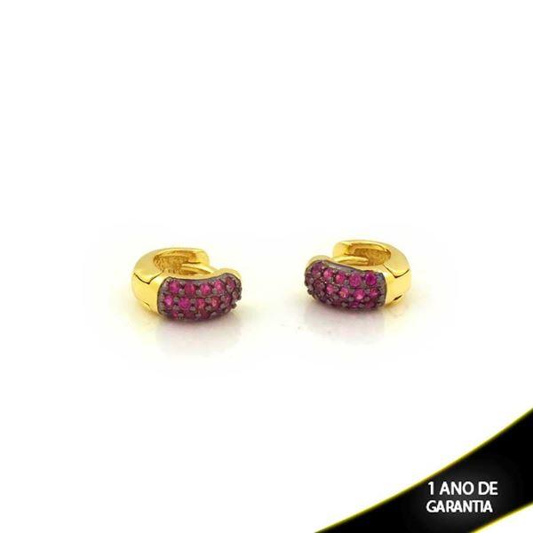 Imagem de Brinco Argola com Zircônias Pink e Aplique de Ródio Negro - 0212050