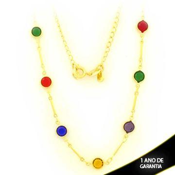 Imagem de Corrente Feminina com Pedras de Zircônias Coloridas 40cm - 0403670