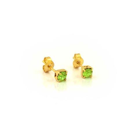 Imagem de Brinco Infantil com Pedra de Strass Quadrada Verde - 0206830