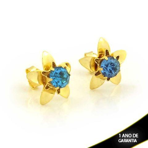 Imagem de Brinco de Flor Lisa com Pedra de Strass Azul Claro - 0212098
