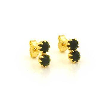 Imagem de Brinco Infantil Duas Pedras de Strass Verde Escuro - 0209516