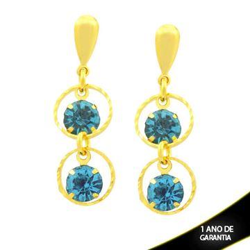 Imagem de Brinco com Dois Strass Azul Claro e Arcos Diamantados - 0212128