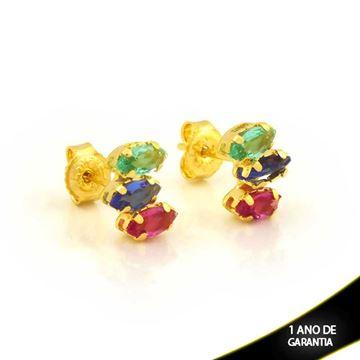 Imagem de Brinco Três Navetes de Pedras Coloridas - 0212192