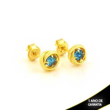 Imagem de Brinco Redondo com Fios e Pedra de Strass Azul Claro - 0212107