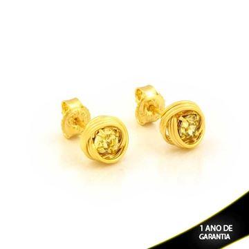 Imagem de Brinco Redondo com Fios e Pedra de Strass Amarelo - 0212107