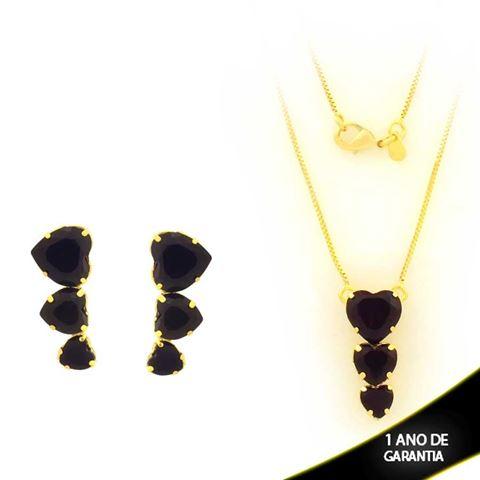 Imagem de Conjunto Três Corações de Pedra de Zircônia Preto 45cm - 0701028