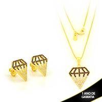 Imagem de Conjunto Diamante Vazado com Pedras de Zircônia 45cm - 0701039