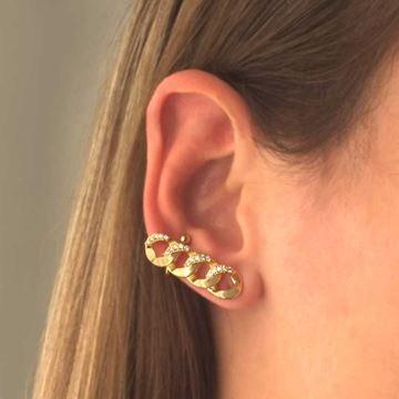 Imagem de Brinco Ear Cuff Grande Corrente Elos Lisos com Zircônias - 0212195