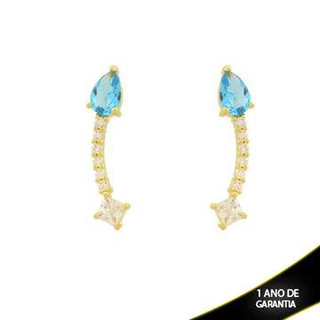 Imagem de Brinco de Pedras de Zircônia e Gota Azul - 0212052
