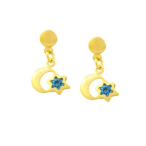 Imagem de Brinco Infantil Lua e Estrela com Strass Azul - 0203762