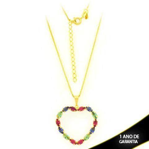 Imagem de Corrente Feminina Coração com Pedras Ovais Coloridas 40cm Mais 5cm de Extensor - 0403738