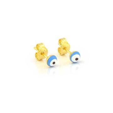 Imagem de Brinco Infantil Redondo Olho Grego Azul Claro - 0211982