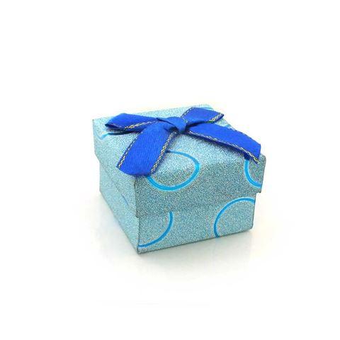 Imagem de Caixinha de Papel para Presente Azul com Círculos - 01010110