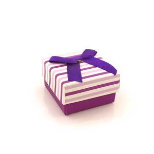 Imagem de Caixinha de Papel para Presente Listras Lilás e Roxo - 01010110