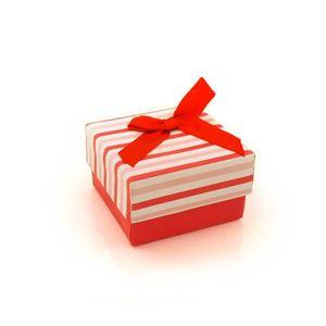 Imagem de Caixinha de Papel para Presente Branca Listras Rosa e Vermelhas - 01010110