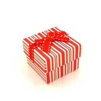 Imagem de Caixinha de Papel para Presente Branca Listras Vermelhas - 01010110