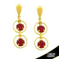 Imagem de Brinco com Dois Strass Vermelhos e Arcos Diamantados - 0212128