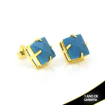 Imagem de Brinco Pedra Acrílica Quadrada Azul - 0211007