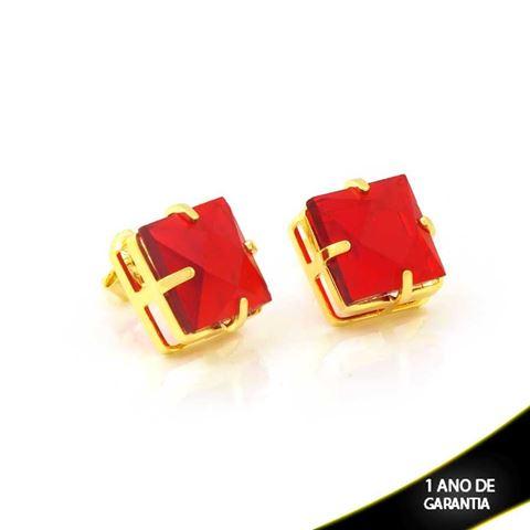 Imagem de Brinco Pedra Acrílica Quadrada Vermelho - 0211007