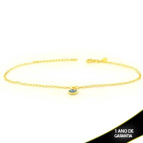 Imagem de Tornozeleira Com Olho Grego Azul Claro 23cm Mais 5cm de Extensor - 0600711