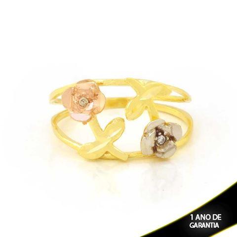 Imagem de Anel com Duas Flores Diamantadas com Aplique de Ródio Rosê - 0104944