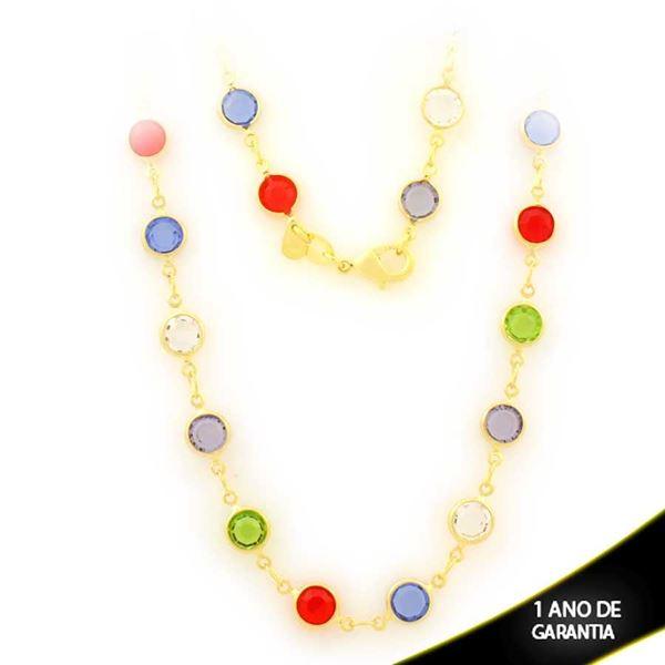 Imagem de Corrente Feminina de Pedras Redondas Coloridas 45cm - 0403850