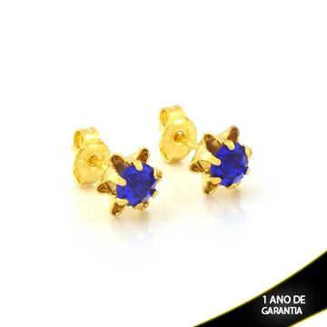 Imagem de Brinco de Flor com Pedra de Strass Azul - 0212105