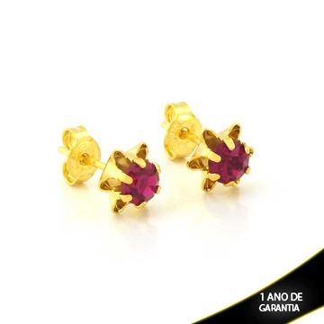 Imagem de Brinco de Flor com Pedra de Strass Pink - 0212105