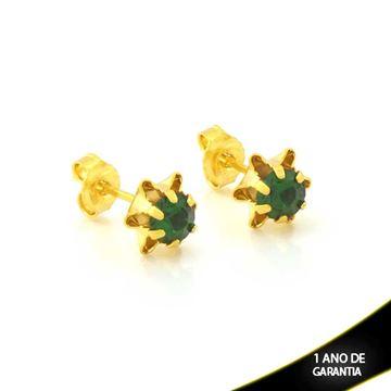 Imagem de Brinco de Flor com Pedra de Strass Verde - 0212105