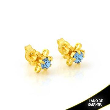 Imagem de Brinco de Flor com Pétalas Vazadas e Pedra de Strass Azul Claro - 0212099