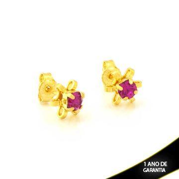 Imagem de Brinco de Flor com Pétalas Vazadas e Pedra de Strass Pink - 0212099