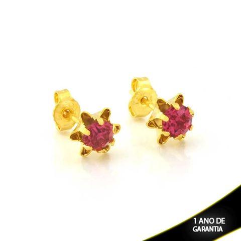 Imagem de Brinco de Flor com Pedra de Strass Rosa - 0212105