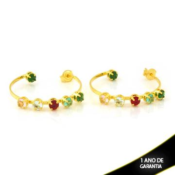 Imagem de Brinco Argola com Pedras Redondas Coloridas - 0212198