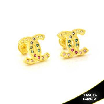 Imagem de Brinco Réplica Chanel com Zircônias Coloridas - 0212256