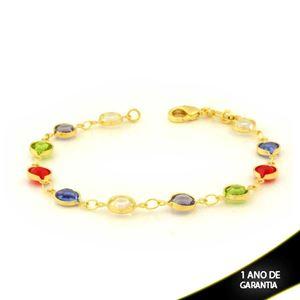 Imagem de Pulseira Feminina com Pedras Redondas Coloridas 18cm - 0504041