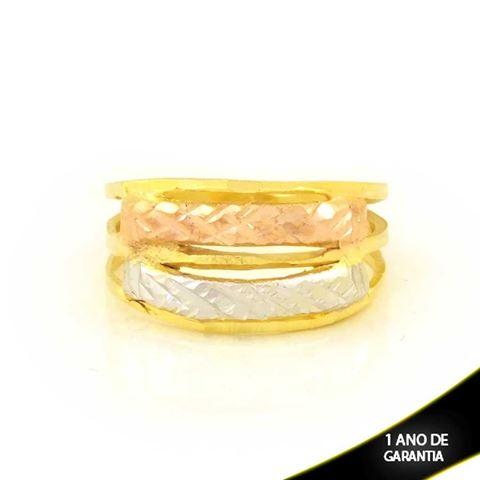 Imagem de Anel Fosco Vazado e Diamantado com Aplique de Ródio Rosê - 0104949
