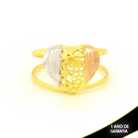 Imagem de Anel de Coração Diamantado com Aplique de Ródio Rosê - 0104938