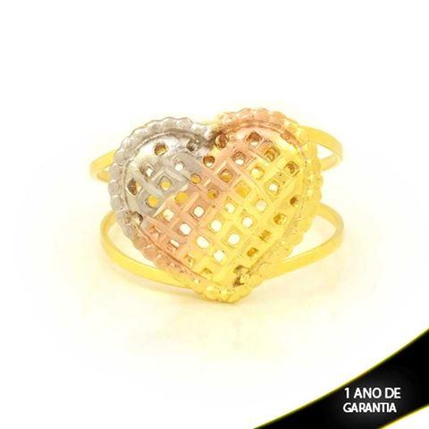Imagem de Anel de Coração Diamantado com Aplique de Ródio Rosê - 0104981
