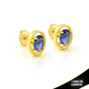 Imagem de Brinco Oval de Pedra Azul - 0212267
