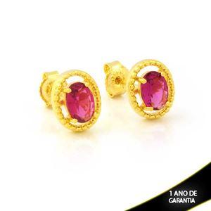Imagem de Brinco Oval de Pedra Pink - 0212267