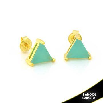 Imagem de Brinco de Pedra Triangular Verde Água - 0212268