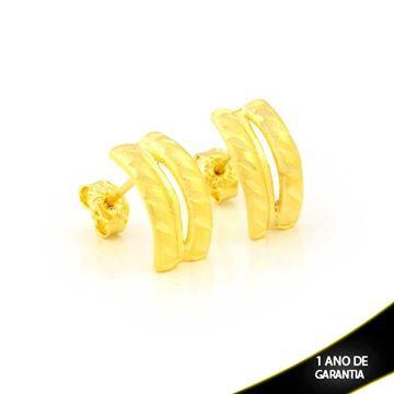 Imagem de Brinco Vazado Fosco e Diamantado - 0211683