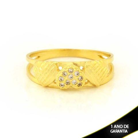Imagem de Anel Três Corações Diamantados com Zircônias - 0104942