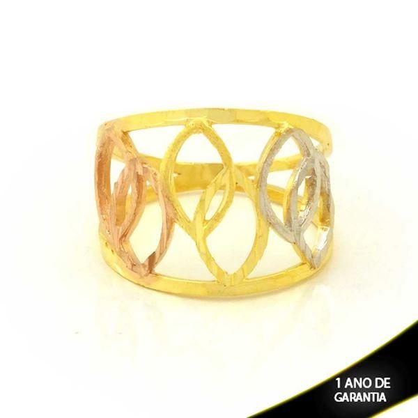 Imagem de Anel com Elos Diamantados em Aplique de Ródio Rosê - 0104982