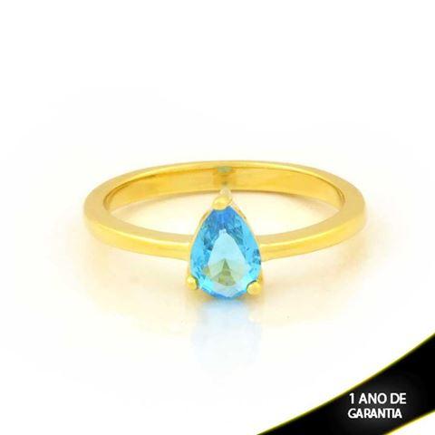 Imagem de Anel com Gota de Pedra Azul Claro - 0104935