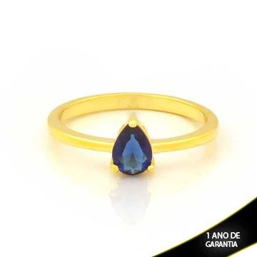 Imagem de Anel com Gota de Pedra Azul Escuro - 0104935
