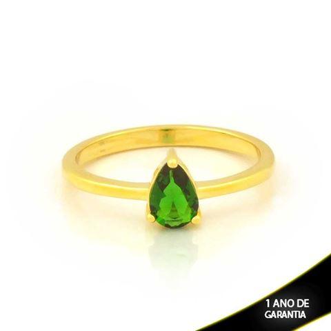 Imagem de Anel com Gota de Pedra Verde - 0104935