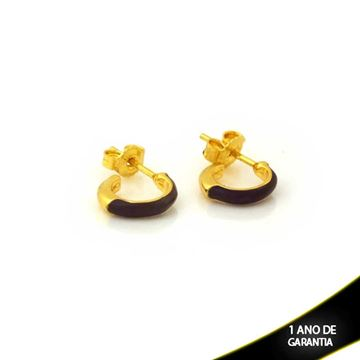 Imagem de Brinco de Argola Pequena Lisa com Resina Preta 2mm 1,1cm - 0212299