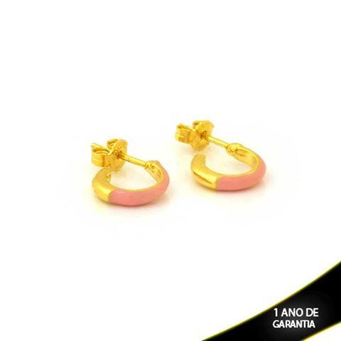 Imagem de Brinco de Argola Pequena Lisa com Resina Rosa 2mm 1,1cm - 0212299